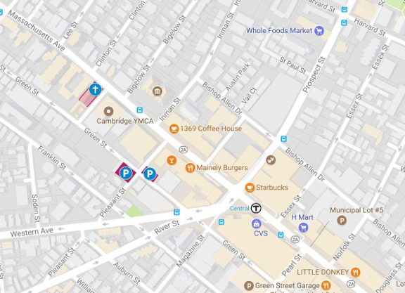 Map of paid parking near to Saint Peter's Episcopal Church in Cambridge, MA
