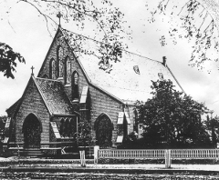 Photo of Saint Peter's Episcopal Church in the 1800s.