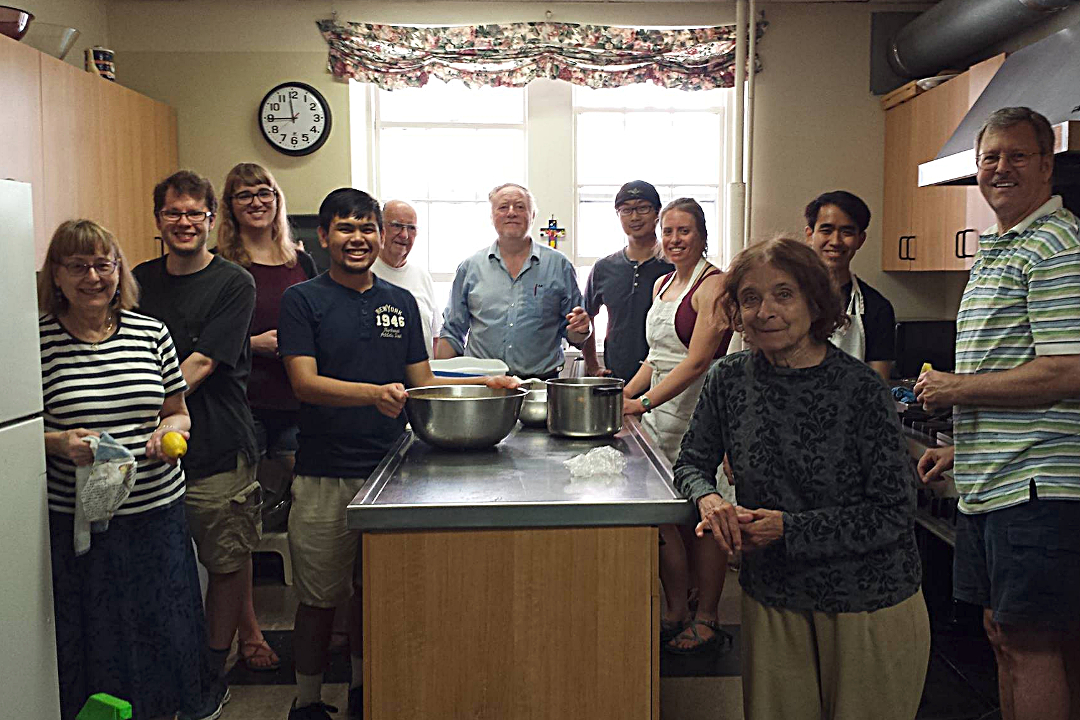 Group of CommonCare volunteers in the kitchen of Saint Peter's