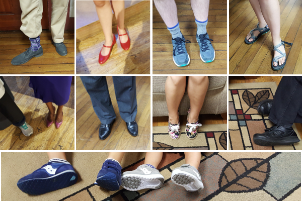 Photo collage showing Saint Peter's members wearing all sorts of shoes one Sunday at church
