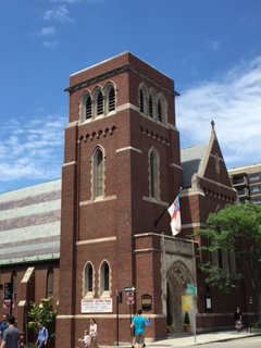 2017 photo of the exterior of Saint Peter's Episcopal Church, at the corner of Mass. Ave. and Sellers St.