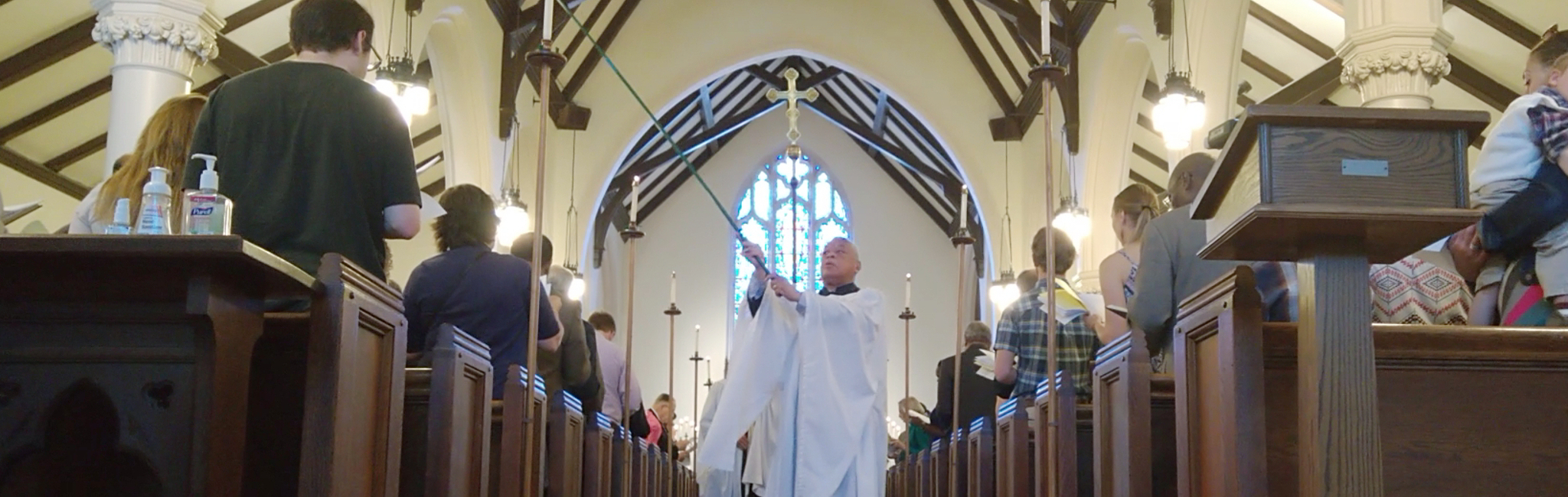 Photograph of a special church procession at Saint Peter's Episcopal Church